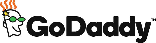 The GoDaddy logo — a man wearing green glasses and orange hair and the word GoDaddy in black letters. GoDaddy is a customer of .NET.